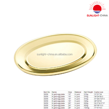 stainless steel serving tray/stainless steel oval tray with gold surface/oval serving tray