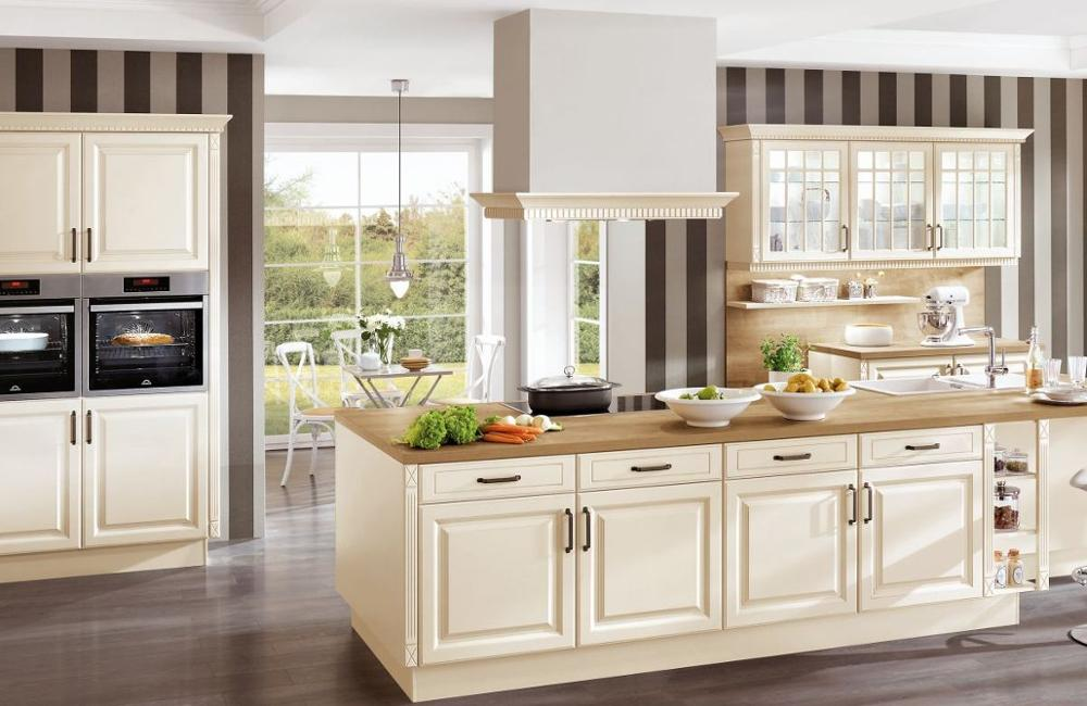 White Silver European Fancy Laminated Kitchen Caninets With Different Shapes of Doors