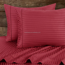 All sizes colors available 100% cotton Queen burgundy colored satin stripe bedding set