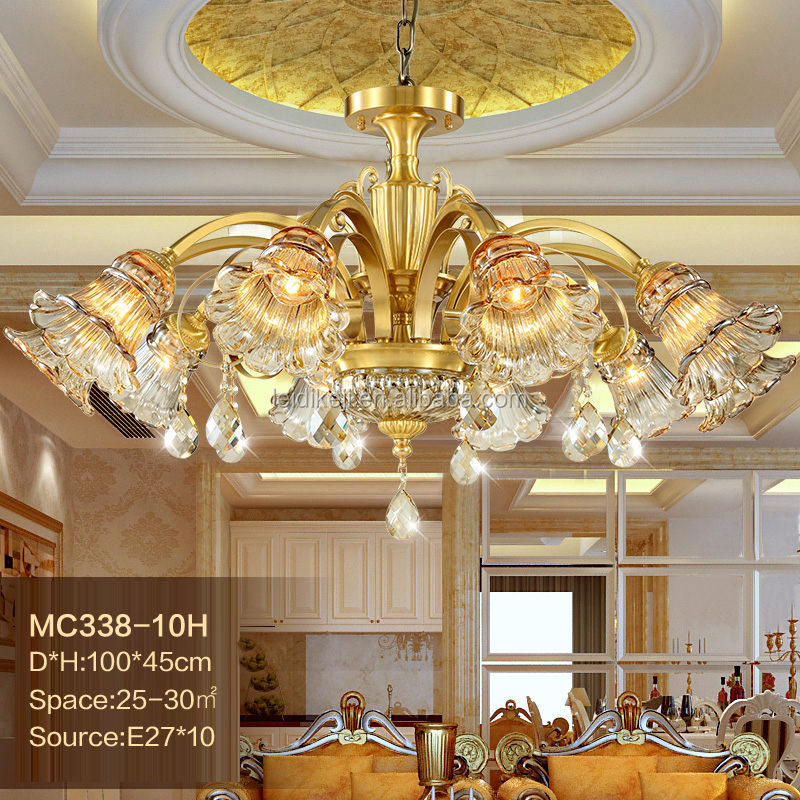 Modern copper 10 light led crystal chandelier lighting with glass shade