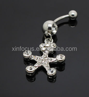 Wholesale fashion star shaped dangle navel belly ring belly bars piercing