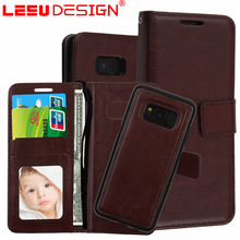 3 pocket 2 in 1 with stand cell phone wallet case leather key case for samsun g S8