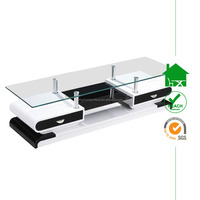 TV-3009 Glass Top TV Stand With Drawers