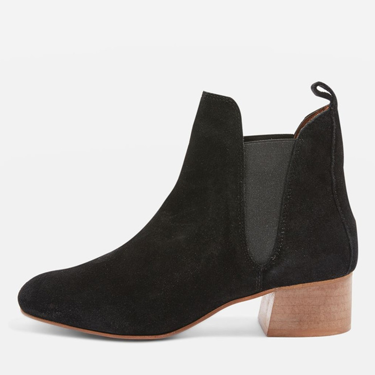 China Cheap Comfort Black Suede Leather Elastic Side Women Chelsea Boots With Wood Heel