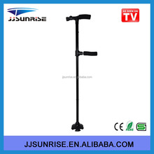China manufacturer double grab handle aluminum built-in led light walking stick