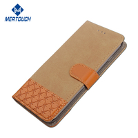 Contrast color Jean leather case for Huawei P8 lite bookstyle flip stand wallet case