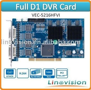 Professional H.264 16ch Full D1 recording DVR Card