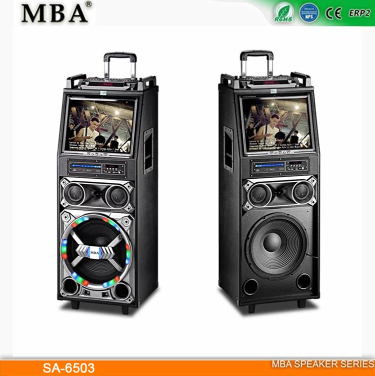 Fashionable design high quality professional multimedia mobile trolley bluetooth outdoor speaker with USB SD MP5 FM BT DVD