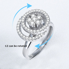 Wholesale silver jewelry engagement movable wedding ring for women girl