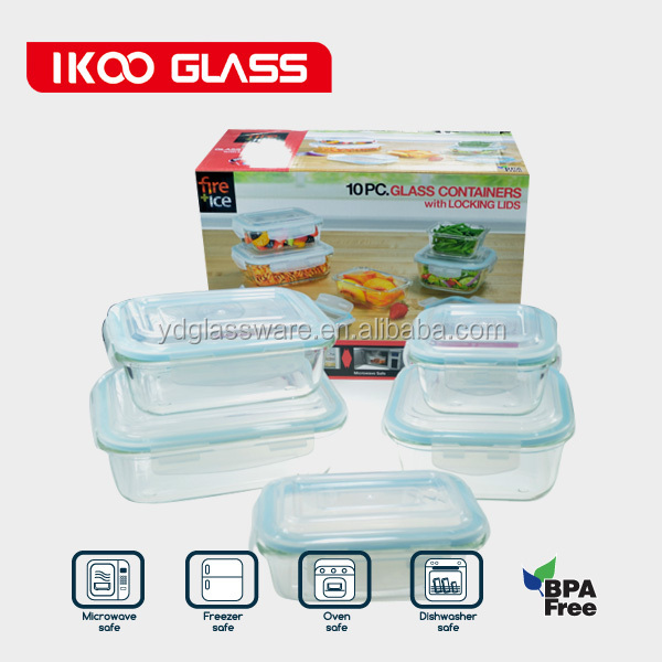 Supply fashion glass microwave oven 10piece crisper/glass food container