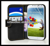 Laudtec Wallet Leather Case Cover for Samsung Galaxy S4 IV i9500 + Screen Protector