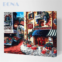 Bona Small Town Digital Handmade Beautiful Scenery oil painting on canvas