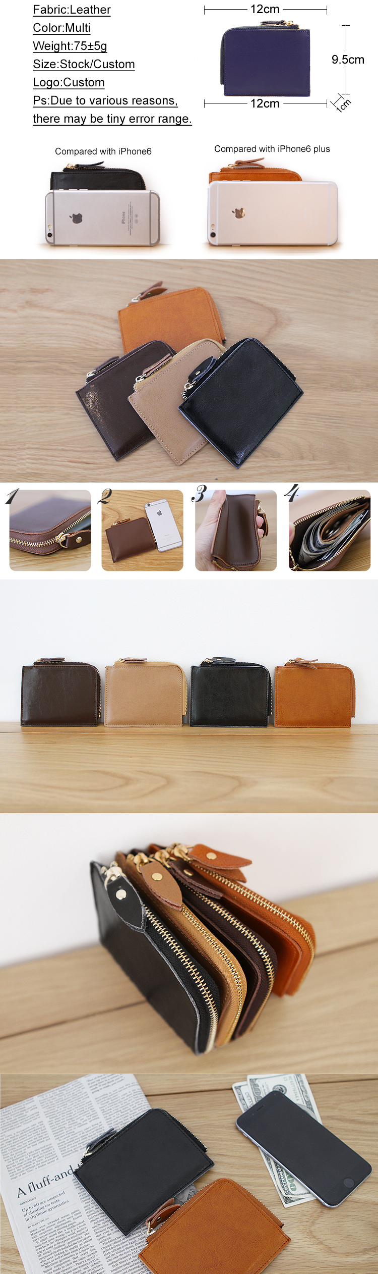 Chinese simple colour funky cheap mini safe waterproof leather hand pocket zipper wallet