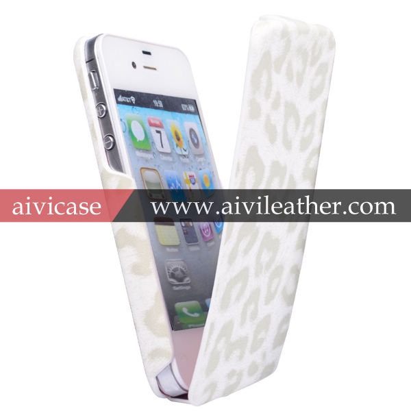 New Design For iPhone 4 Leather Case With Leopard Print Pattern