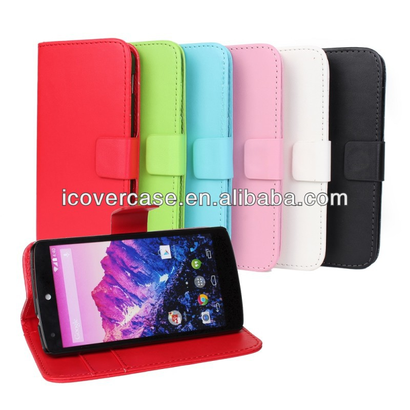 Brand New for LG Nexus 5 E980 High quality PU Leather Wallet case,stand cover with credit card slots/money pocket,color!