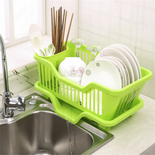 factory wholesale Plastic large Dish Drainer with drip tray cutlery holder kitchen sink rack plate,SGS plastic utensils
