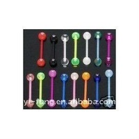 10 Flexible Acrylic Tongue Ring 14g - In Assorted Colors