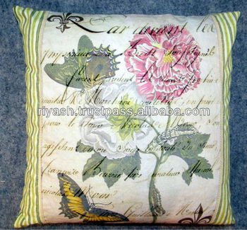 Rose Flower Vintage Art with Strip Fabric Cotton Cushion Cover - 50 Cm Sq.