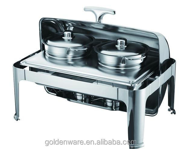GW-728D 2X4.5L Made In Guangzhou China Professional oblong roll top chafing dish