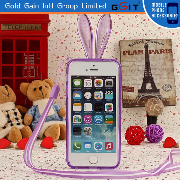 Soft TPU Bumper Case for Samsung S4 I9500 Cute Rabbit Ear Case with Chain