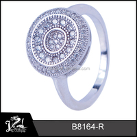 fashion jewellry micro pave cz 925 sun silver ring