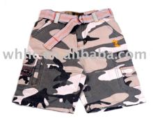 boy's kids camo short trousers casual pants with belt