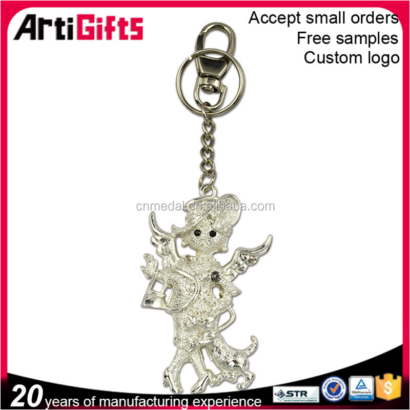 Promotional gifts 3d metal silver key ring,silver key chains for ladies
