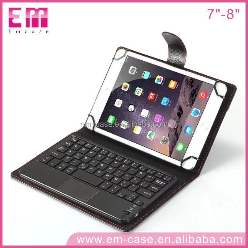 Detachable Bluetooth Keyboard Leather Case For Tablets Touch Sense Keyboard 7--8 Inch