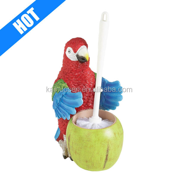 personalized hand painted parrot unique toilet brush holders