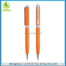 High grade orange metal pen with engraved logo