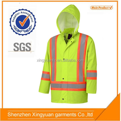 High visibility rain jacket reflective motorcycle men's pu jacket with PU/PVC
