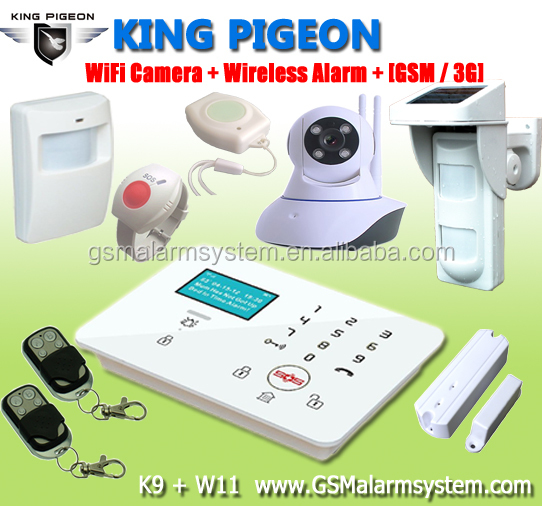 King Pigeon GSM LCD wireless home alarm system &dual wireless pstn home gsm alarm/ wireless sim card burglar alarm system