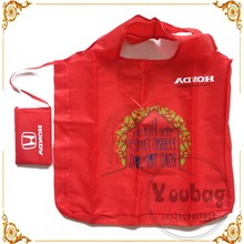Custom cheap 190T Polyester polyester foldable shopping bag with foldable pouch