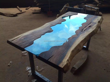 Live Edge Glass inlay Solid Wood Slab Dining Table Glass inlay Furniture