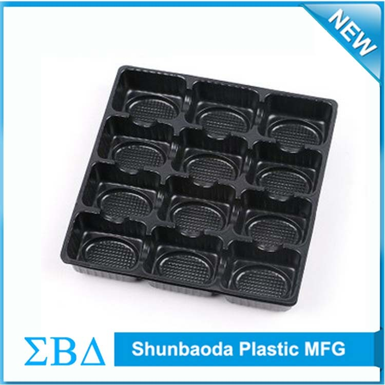 Customized black plastic PCB vacuum formed plastic tray, antistatic ESD tray
