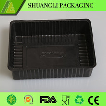 Rectangular black color disposable plastic frozen food box packaging