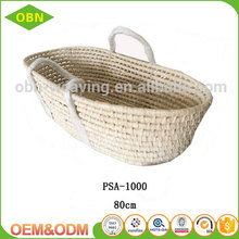 High quality customized corn husk straw baby moses baskett with braided handles