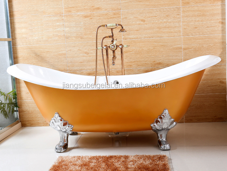 big size traditional double slipper cast iron clawfoot tub for sale
