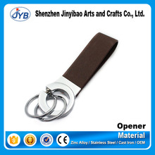 custom luxury initial leather metal keychain with easy take rings