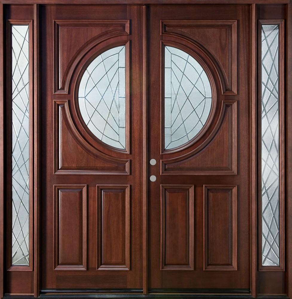 Double glass door with half round shape plus brown wooden for Glass door with wooden frame