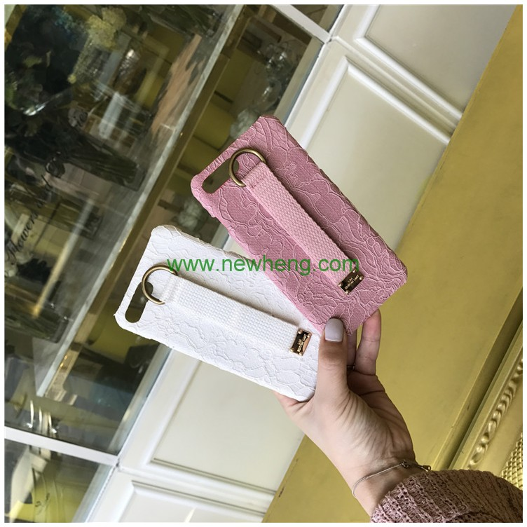 Fashion Lace Flower Hard PC wrist strap Phone case for iphone 6
