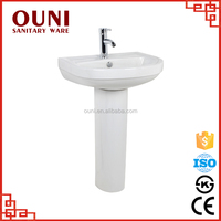 ON-0013 Top quality solid surface white pedestal ceramic sinks