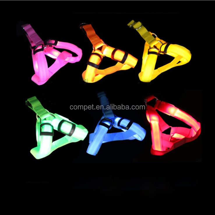 Pet supplies LED glowing dog large dog chest strap luminescent flashing dog harness
