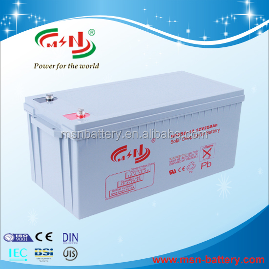 Battery manufacturer promote sales gel deep cycle 12v solar battery 250ah for solar and wind system