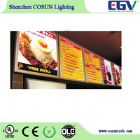 Factory price illumilating menu board super slim aluminum led light box for window sign board wall decoration board