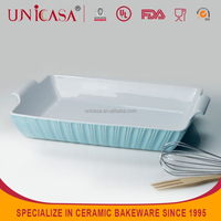 UNICASA factoty direct sale ceramic bakeware pan microwave pie plate