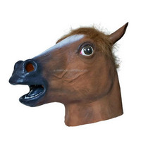 X-MERRY Festival Masquerade Party Halloween Latex Horse Head Mask -Brown
