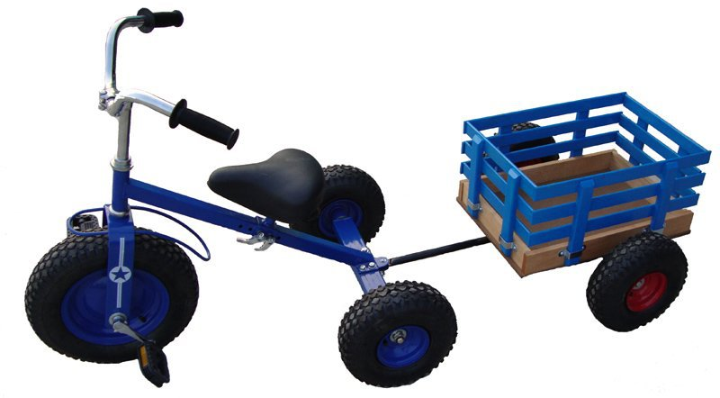 kids ride on car tricycle toy with trailer