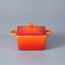 Small daily use square baking bowl/ soup tureen with handles