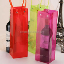 PVC Tube Handle Carrier Bags for Red Wine Champagne Cold Beer Ice Packaging Bags